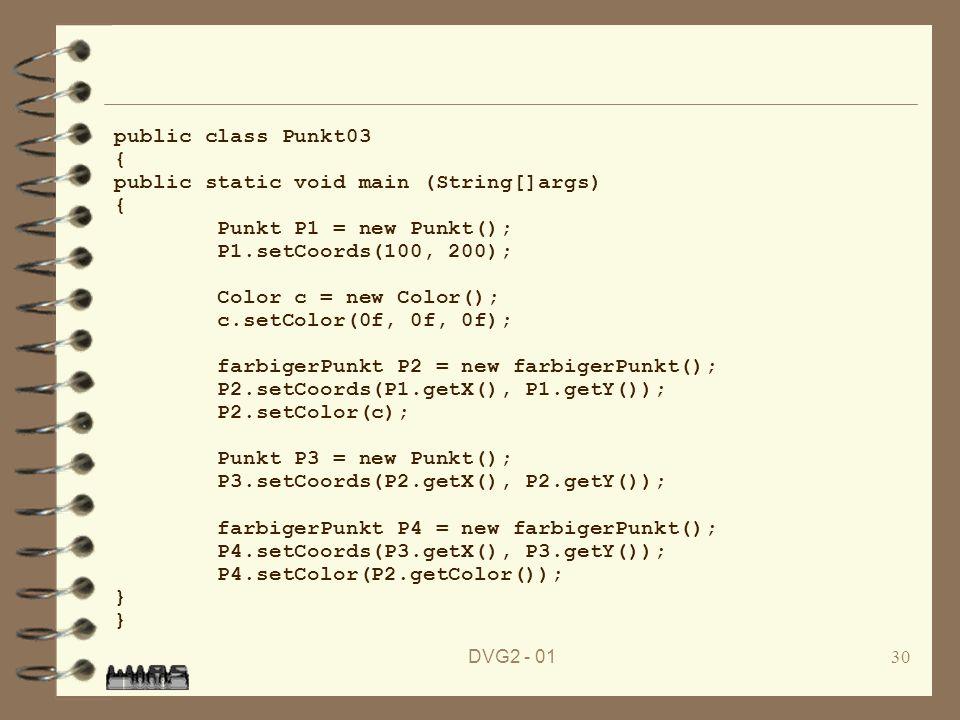 public static void main (String[]args) Punkt P1 = new Punkt();